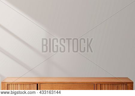 Minimal product backdrop with wooden cabinet
