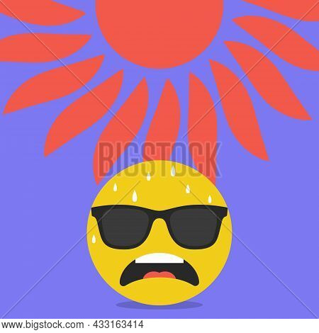 Anxious Face With Sweat Emoji, Hot Summer Weather, Abnormal Heat, Vector Illustration