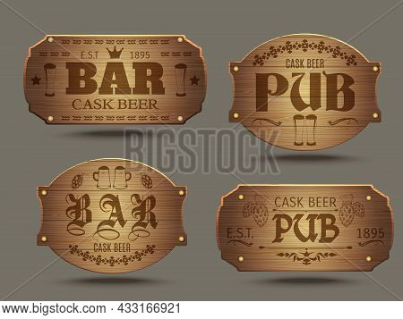 Pub Wooden Old-fashioned Signs Set For Craft Cast Ale Beer Tasting Advertisement Poster Abstract Iso