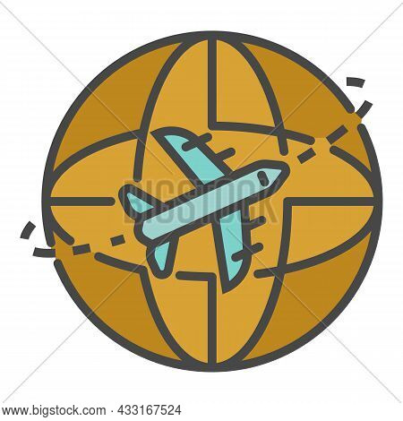 Global Air Delivery Icon. Outline Global Air Delivery Vector Icon Color Flat Isolated On White