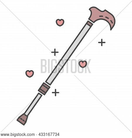 Walking Stick Icon. Outline Walking Stick Vector Icon Color Flat Isolated On White