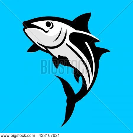 Tuna Fish On Blue Background In Vector Eps 8