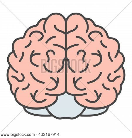 Brain Icon. Outline Brain Vector Icon Color Flat Isolated On White
