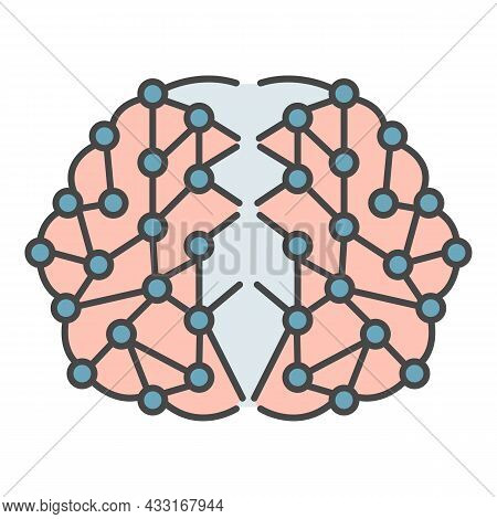 Artificial Brain Icon. Outline Artificial Brain Vector Icon Color Flat Isolated On White