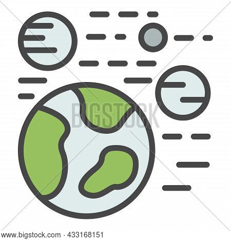 Solar System Icon. Outline Solar System Vector Icon Color Flat Isolated On White