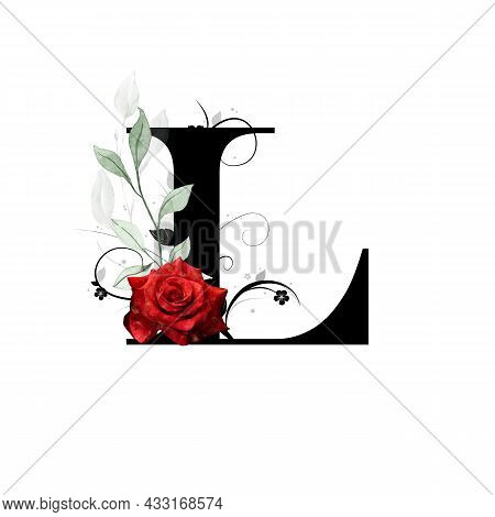 Floral Monogram, Letter L - Decorated With Red Rose And Watercolor Leaves