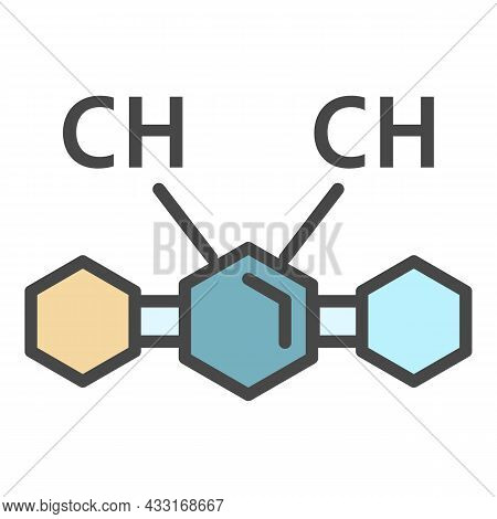 Ch Chemical Substance Icon. Outline Ch Chemical Substance Vector Icon Color Flat Isolated On White