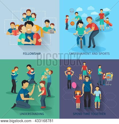 Fatherhood Design Concept Set With Fellowship Sports And Entertainment Flat Icons Isolated Vector Il