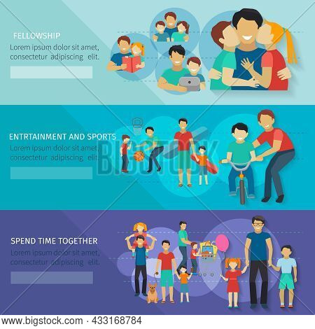 Fatherhood Horizontal Banner Set With Father And Child Sports And Entertainment Isolated Vector Illu