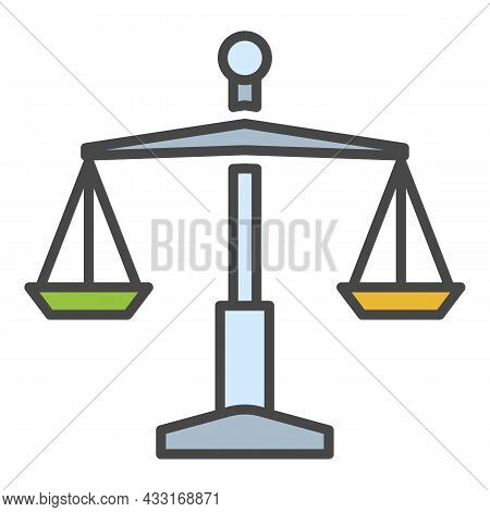 Judge Balance Icon. Outline Judge Balance Vector Icon Color Flat Isolated On White