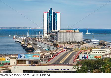 Odessa, Ukraine, September 24, 2019: View Of The Seaport Of Odessa From The Potemkin Stairs.