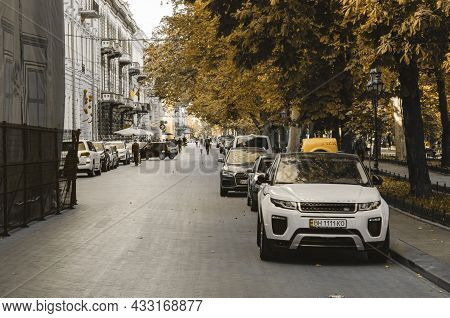 Odessa, Ukraine, September 24, 2019: People, Cars And Buildings In The Center Of Odessa.