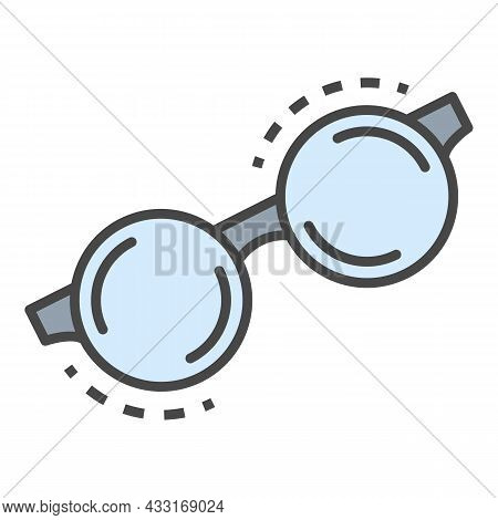 Round Glasses Icon. Outline Round Glasses Vector Icon Color Flat Isolated On White