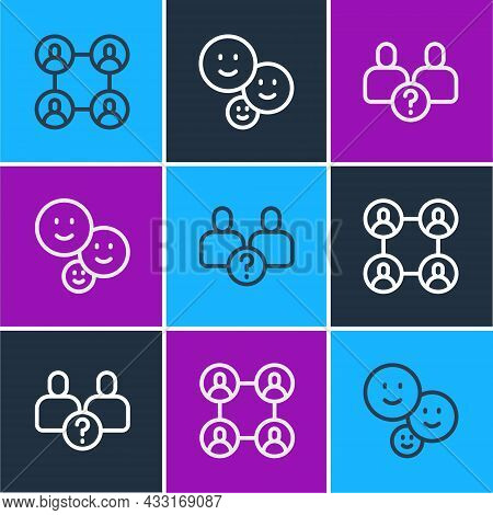 Set Line Bff Or Best Friends Forever, Complicated Relationship And Happy Friendship Day Icon. Vector