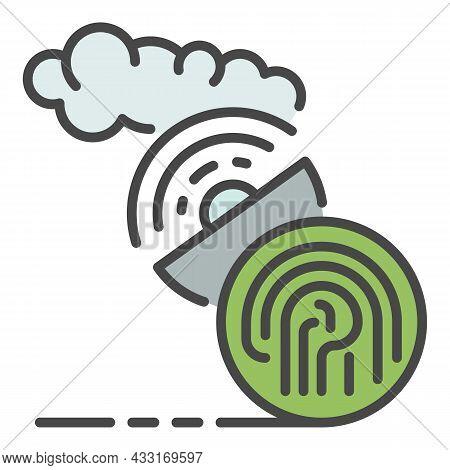 Fingerprint Satellite Signal Icon. Outline Fingerprint Satellite Signal Vector Icon Color Flat Isola