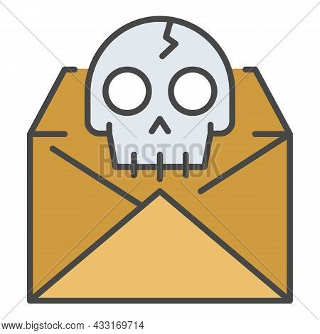 Hacking Email Icon. Outline Hacking Email Vector Icon Color Flat Isolated On White