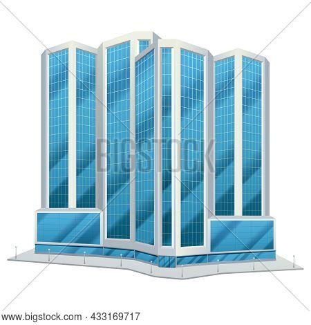 Modern Urban Glass Tower Design City Downtown Office Centre Tall Buildings Day Skyline Abstract Flat