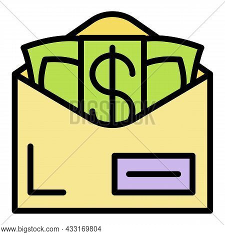 Bribery Money Envelope Icon. Outline Bribery Money Envelope Vector Icon Color Flat Isolated On White