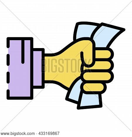Hand Bribery Banknote Icon. Outline Hand Bribery Banknote Vector Icon Color Flat Isolated On White