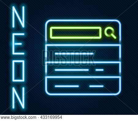 Glowing Neon Line Search Engine Icon Isolated On Black Background. Colorful Outline Concept. Vector