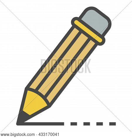 Writing Pencil Icon. Outline Writing Pencil Vector Icon Color Flat Isolated On White