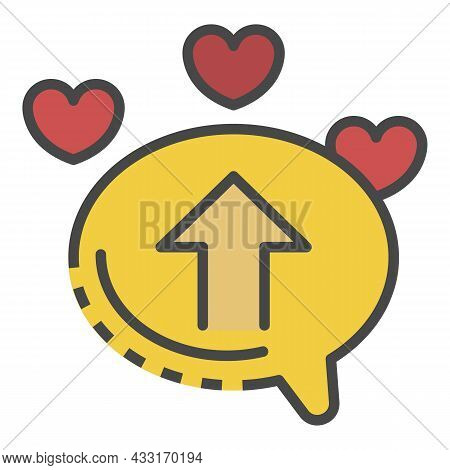 Upload Chat Heart Icon. Outline Upload Chat Heart Vector Icon Color Flat Isolated On White