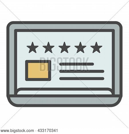 Rating 5 Star Paper Icon. Outline Rating 5 Star Paper Vector Icon Color Flat Isolated On White