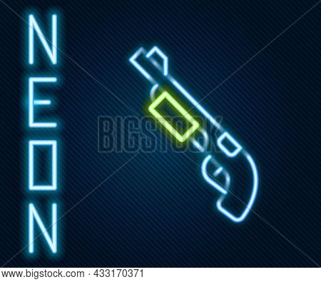 Glowing Neon Line Police Shotgun Icon Isolated On Black Background. Hunting Shotgun. Colorful Outlin
