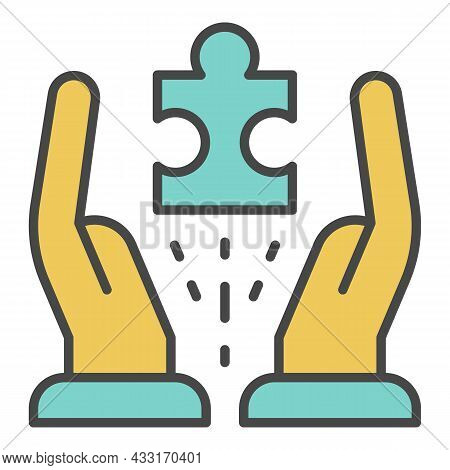 Hands Hold One Puzzle Icon. Outline Hands Hold One Puzzle Vector Icon Color Flat Isolated On White