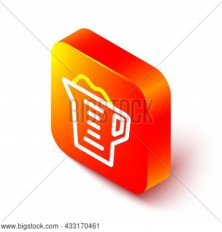 Isometric Line Washing Powder In A Measuring Cup Icon Isolated On White Background. Orange Square Bu