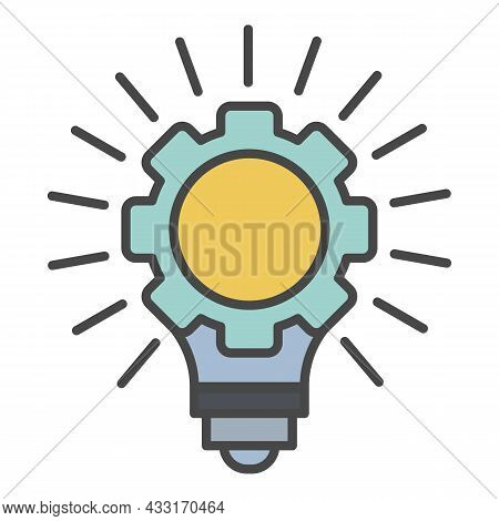 Gear Wheel Bulb Idea Icon. Outline Gear Wheel Bulb Idea Vector Icon Color Flat Isolated On White