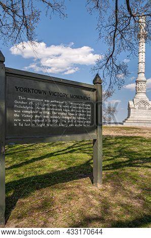 Usa, Virginia, Yorktown - March 30, 2013: Portrait, White Yorktown Victory Monument In Combination W