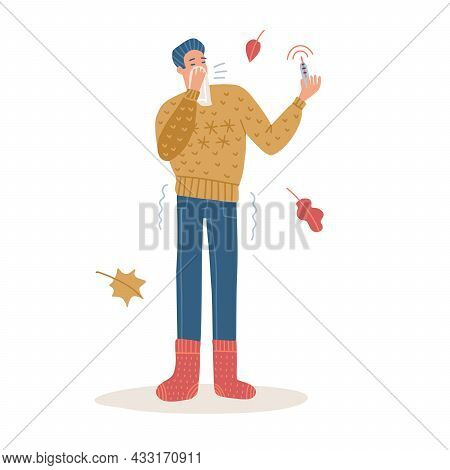 Man Sneeze Covered By Tissue. Coronavirus Covid-19 Outbreak Concept. Male Full-length Character Wear