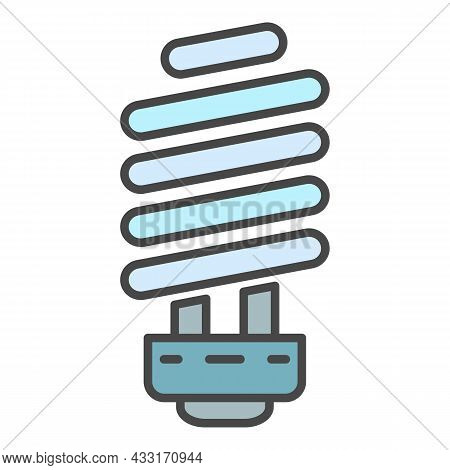 Economy Light Bulb Icon. Outline Economy Light Bulb Vector Icon Color Flat Isolated On White
