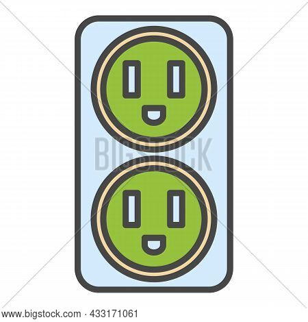 Double Electrical Outlet Icon. Outline Double Electrical Outlet Vector Icon Color Flat Isolated On W