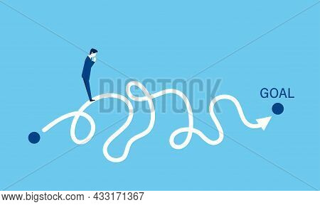 Business,image Of Complex Road To Achieving The Goal,confused Businessman,blue Background,vector Ill
