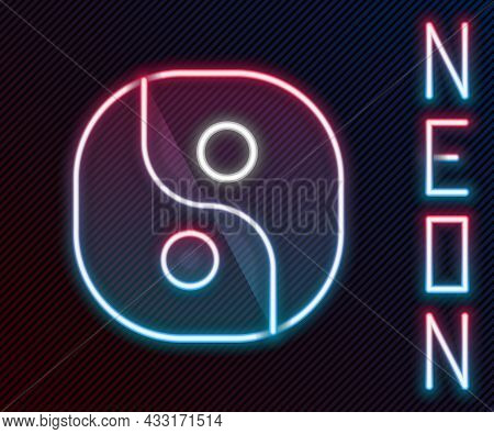 Glowing Neon Line Yin Yang Symbol Of Harmony And Balance Icon Isolated On Black Background. Colorful