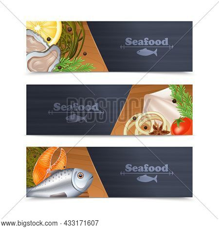 Seafood Restaurant Menu Horizontal Banner Set With Fish And Spices Isolated Vector Illustration