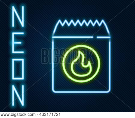 Glowing Neon Line Barbecue Coal Bag Icon Isolated On Black Background. Colorful Outline Concept. Vec