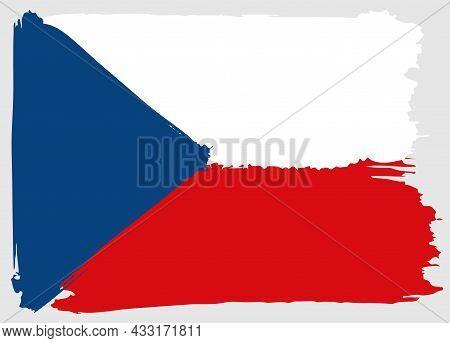 Flag Of Czech Republic Brush Stroke Watercolor. National Symbol. Doodle Background Vector Illustrati