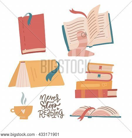 Cozy Set Of Colorful Books, Book Stacks, Piles And Cup Of Hot Beverage. Hand Drawn Library With Funn