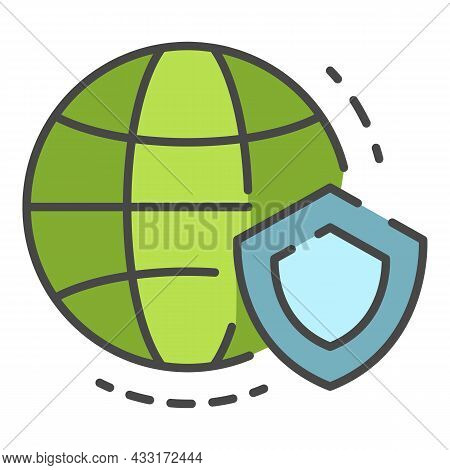 Secured Global Data Icon. Outline Secured Global Data Vector Icon Color Flat Isolated On White
