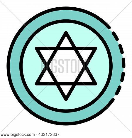 Jewish Coin Icon. Outline Jewish Coin Vector Icon Color Flat Isolated On White