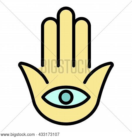 Jewish Eye Palm Icon. Outline Jewish Eye Palm Vector Icon Color Flat Isolated On White