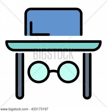 Jewish Man Face Icon. Outline Jewish Man Face Vector Icon Color Flat Isolated On White