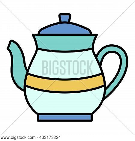 Tea Pot Icon. Outline Tea Pot Vector Icon Color Flat Isolated On White