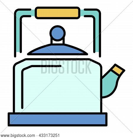 Old Kettle Icon. Outline Old Kettle Vector Icon Color Flat Isolated On White