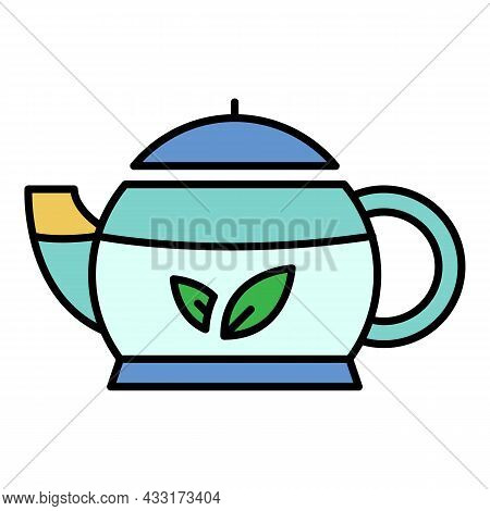 Oriental Teapot Icon. Outline Oriental Teapot Vector Icon Color Flat Isolated On White