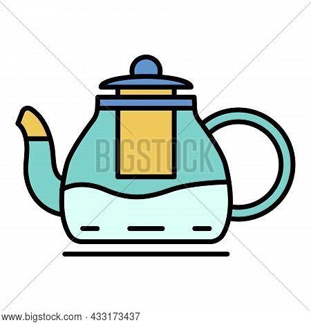Kitchen Teapot Icon. Outline Kitchen Teapot Vector Icon Color Flat Isolated On White