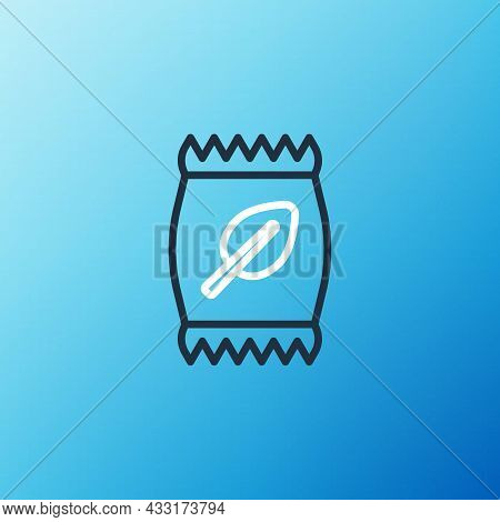 Line Fertilizer Bag Icon Isolated On Blue Background. Colorful Outline Concept. Vector